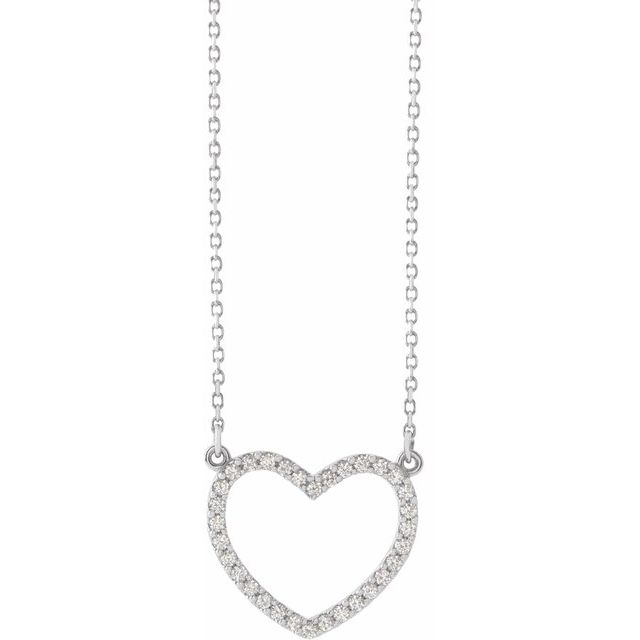 14K White 1/5 CTW Diamond Small Heart 16