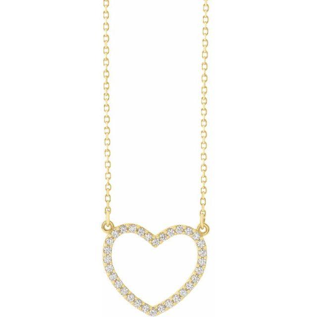 14K Yellow 1/5 CTW Diamond Small Heart 16