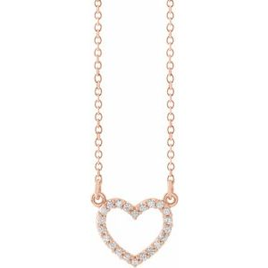 "14K Rose 1/8 CTW Diamond Petite Heart 16"" Necklace"