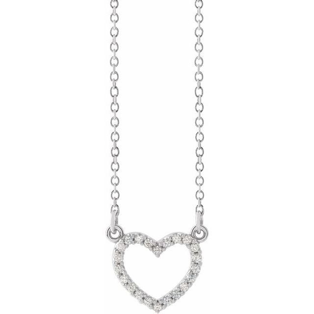 14K White .08 CTW Diamond Petite Heart 16