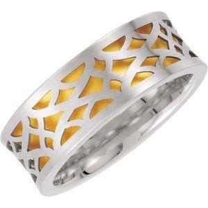 14K White/Yellow 8 mm Laser Pierced Design Band  Size 6