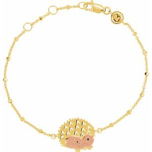 "18K Yellow & Rose Vermeil Hedgehog Symbol for Protection 7 1/2"" Bracelet"