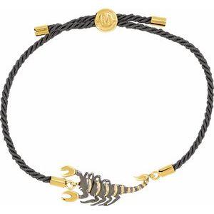 "18K Yellow Vermeil & Black Rhodium-Plated Scorpion Symbol for Passion Black Satin 8"" Bracelet"