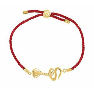 "18K Yellow Vermeil Serpent Symbol for Temptation Red Satin 8"" Bracelet"