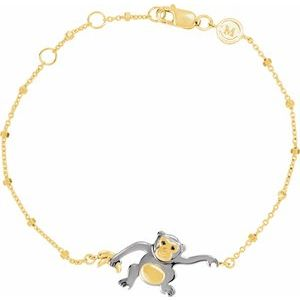 "18K Yellow Vermeil & Black Rhodium-Plated Monkey Symbol for Mischief 7 1/2"" Bracelet"