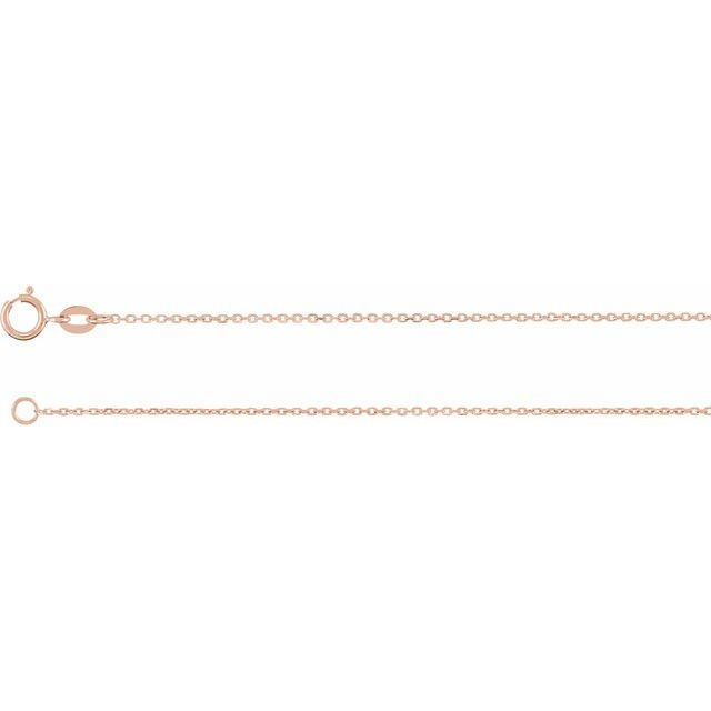 14K Rose 1 mm Diamond-Cut Cable Chain 7
