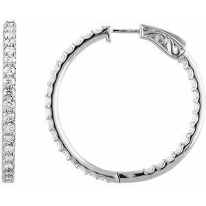 14K White 3 CTW Diamond Inside-Outside 34.5 mm Hoop Earrings