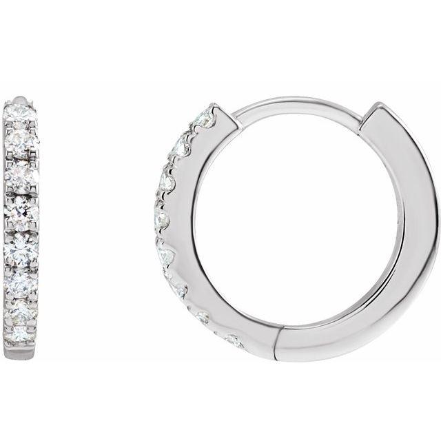 14K White 1/5 CTW Lab-Grown Diamond Hoop Earrings