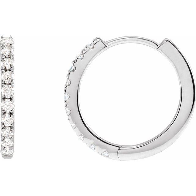 14K White 1/4 CTW Lab-Grown Diamond Hoop Earrings