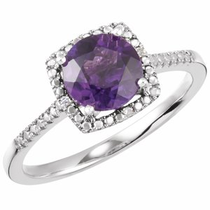 Sterling Silver Amethyst & .01 CTW Diamond Ring Size 6