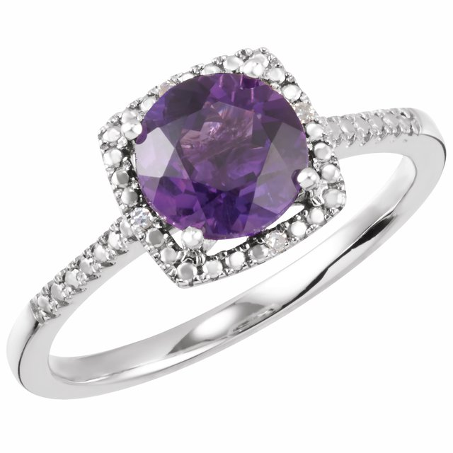 Sterling Silver Amethyst & .01 CTW Diamond Ring Size 5