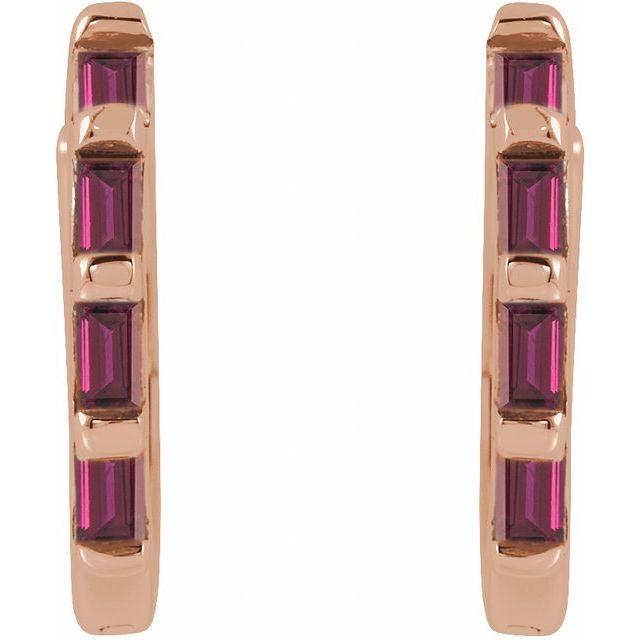 14K Rose  Ruby Huggie Earrings