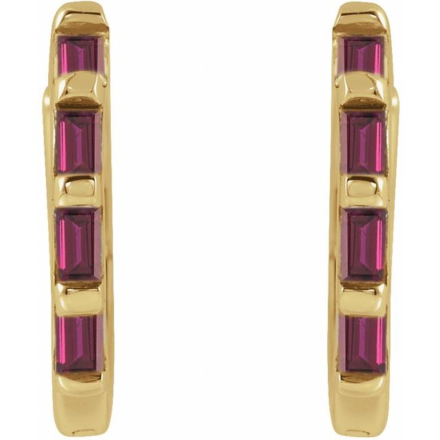 14K Yellow  Ruby Huggies