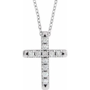 "14K White 1/3 CTW Diamond French-Set Cross 16-18"" Necklace"