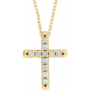 "14K Yellow 1/3 CTW Diamond French-Set Cross 16-18"" Necklace"