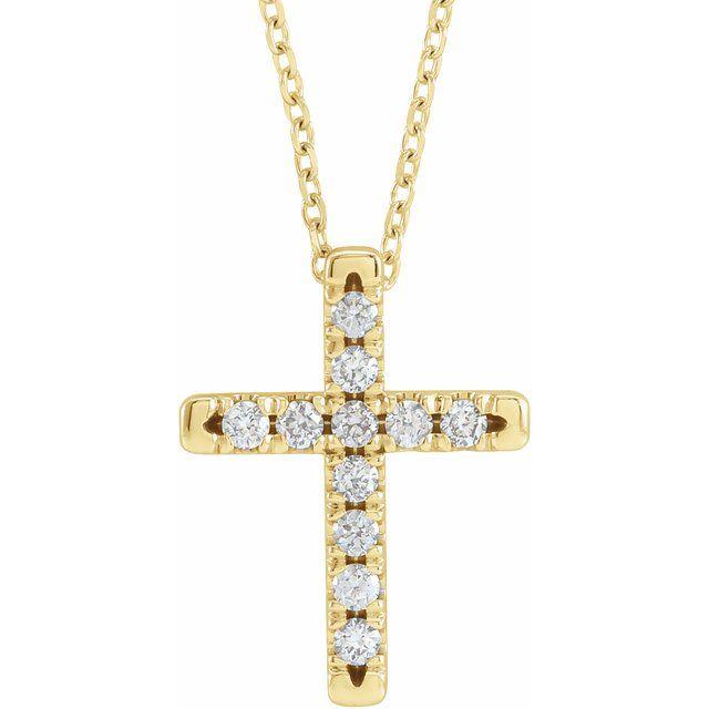 14K Yellow 1/4 CTW Diamond French-Set Cross 16-18