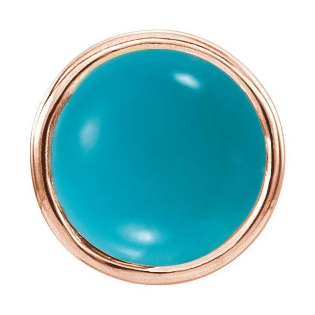 14K Rose Turquoise Bezel-Set Single Earring