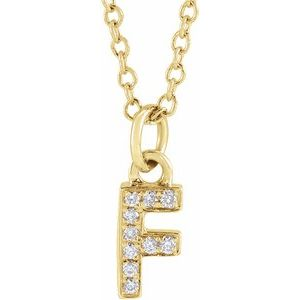 "14K Yellow .04 CTW Diamond Petite Initial F 16-18"" Necklace"