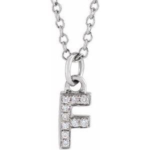 "14K White .04 CTW Diamond Petite Initial F 16-18"" Necklace"