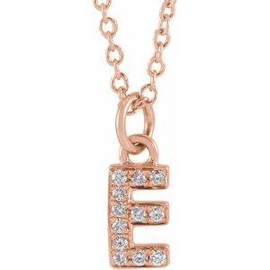 "14K Rose .04 CTW Diamond Petite Initial E 16-18"" Necklace"