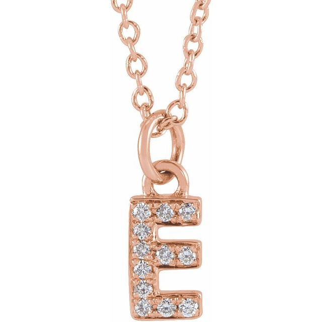 14K Rose .04 CTW Diamond Petite Initial E 16-18