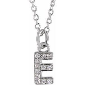 "14K White .04 CTW Diamond Petite Initial E 16-18"" Necklace"