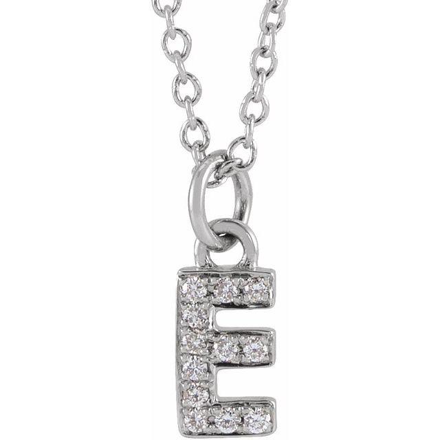 14K White .04 CTW Diamond Petite Initial E 16-18