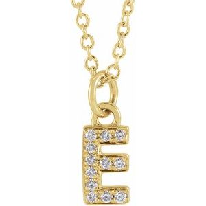 "14K Yellow .04 CTW Diamond Petite Initial E 16-18"" Necklace"