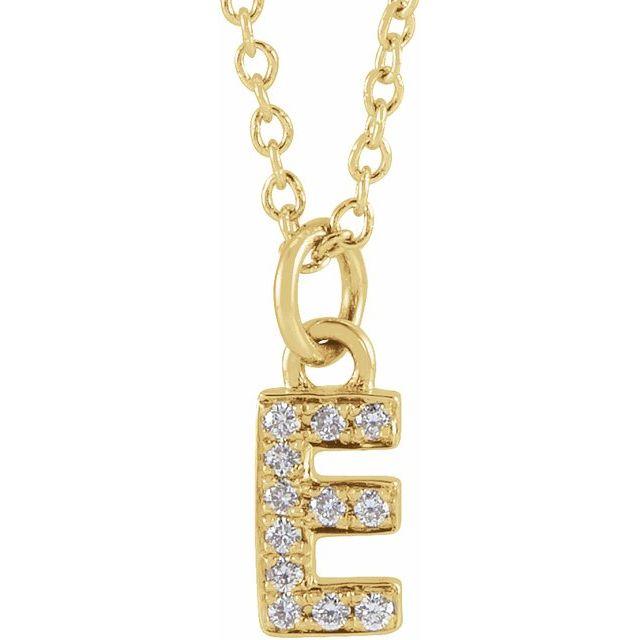 14K Yellow .04 CTW Diamond Petite Initial E 16-18