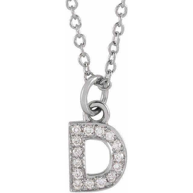 14K White .05 CTW Diamond Petite Initial D 16-18