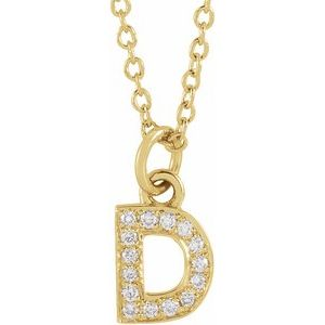 "14K Yellow .05 CTW Diamond Petite Initial D 16-18"" Necklace"