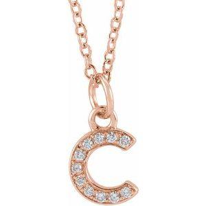 """14K Rose .04 CTW Diamond Petite Initial C 16-18"""" Necklace"""