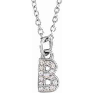 "14K White .05 CTW Diamond Petite Initial B 16-18"" Necklace"