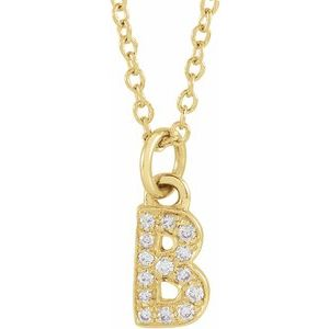 "14K Yellow .05 CTW Diamond Petite Initial B 16-18"" Necklace"