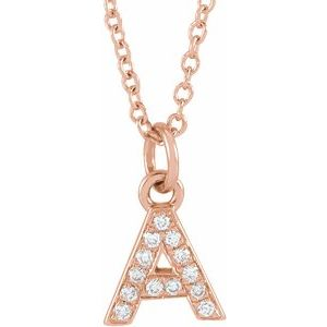 "14K Rose .05 CTW Diamond Petite Initial A 16-18"" Necklace"