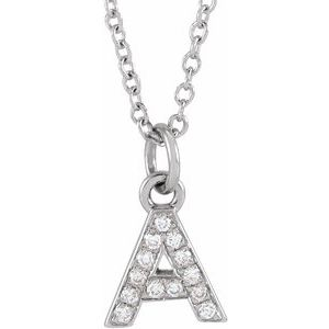 "14K White .05 CTW Diamond Petite Initial A 16-18"" Necklace"