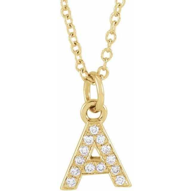 14K Yellow .05 CTW Diamond Petite Initial A 16-18