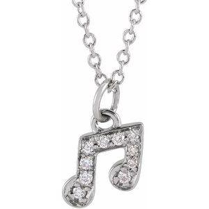 "14K White .05 CTW Diamond Petite Music Note 16-18"" Necklace"
