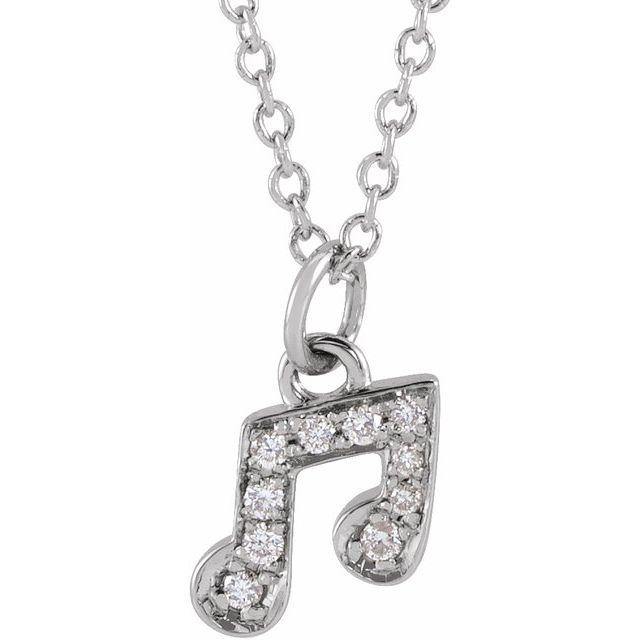 14K White .05 CTW Diamond Petite Music Note 16-18