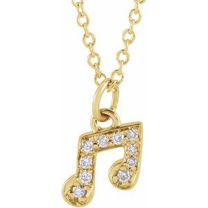 "14K Yellow .05 CTW Diamond Petite Music Note 16-18"" Necklace"