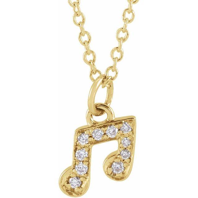 14K Yellow .05 CTW Diamond Petite Music Note 16-18
