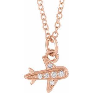 """14K Rose .025 CTW Diamond Petite Airplane 16-18"""" Necklace"""