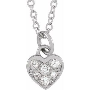 "14K White  .06 CTW Diamond Petite Heart 16-18"" Necklace"