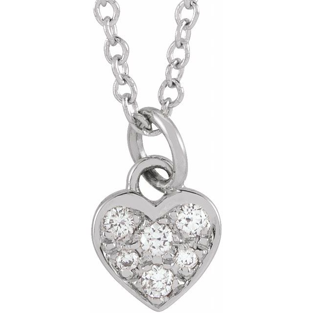 14K White  .06 CTW Diamond Petite Heart 16-18