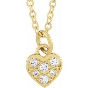 "14K Yellow  .06 CTW Diamond Petite Heart 16-18"" Necklace"