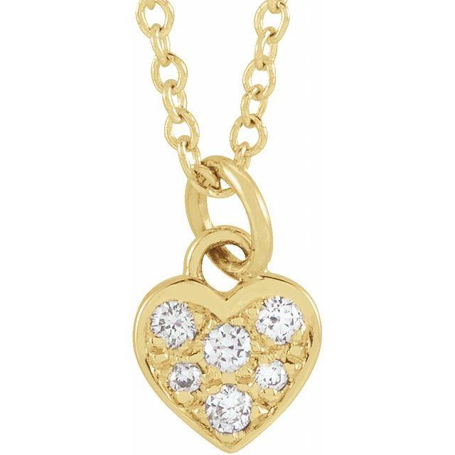 14K Yellow  .06 CTW Diamond Petite Heart 16-18