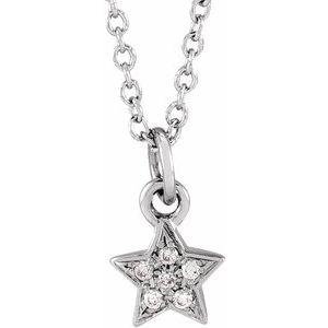 "14K White .03 CTW Diamond Youth Petite Star 15"" Necklace"