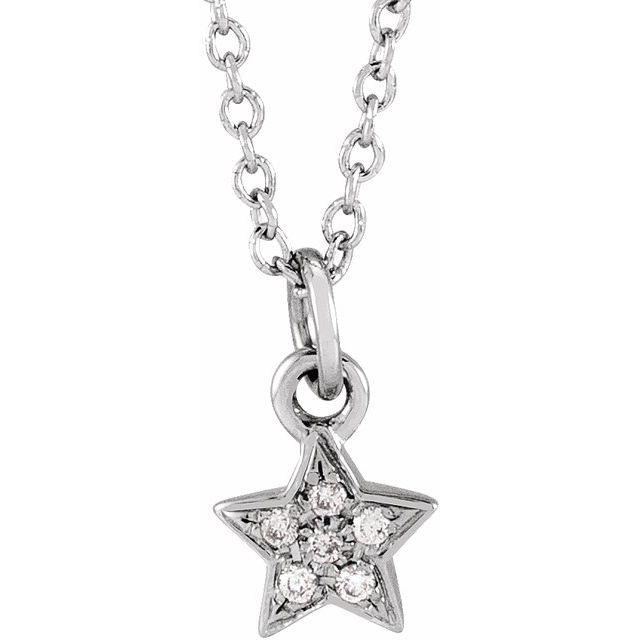 14K White .03 CTW Diamond Youth Petite Star 15