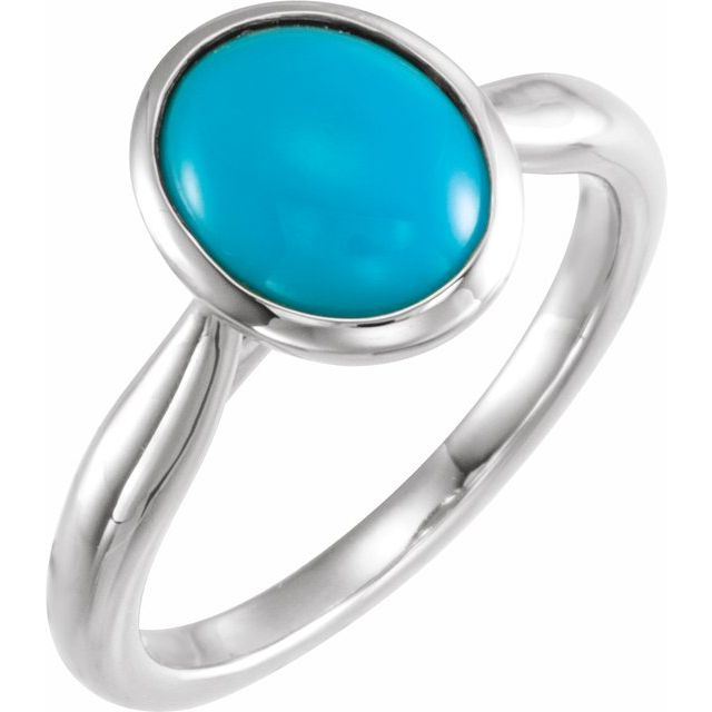 14K White 10x8 mm Oval Cabochon Turquoise Ring