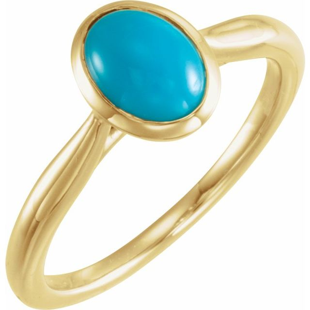14K Yellow 8x6 mm Oval Cabochon Turquoise Ring
